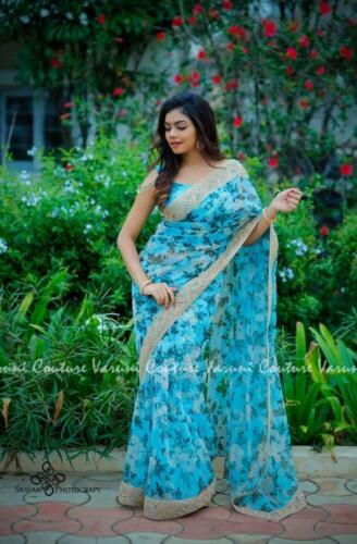 Blue Floral Print Wedding Designer Bollywood Beautiful Lace Border Sari Saree JR