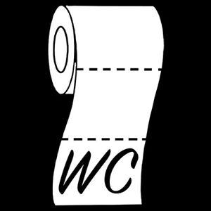 Sticker Décoration WC (Toilettes) Rouleau de papier déroulé (15x9 cm à 50x30 cm)