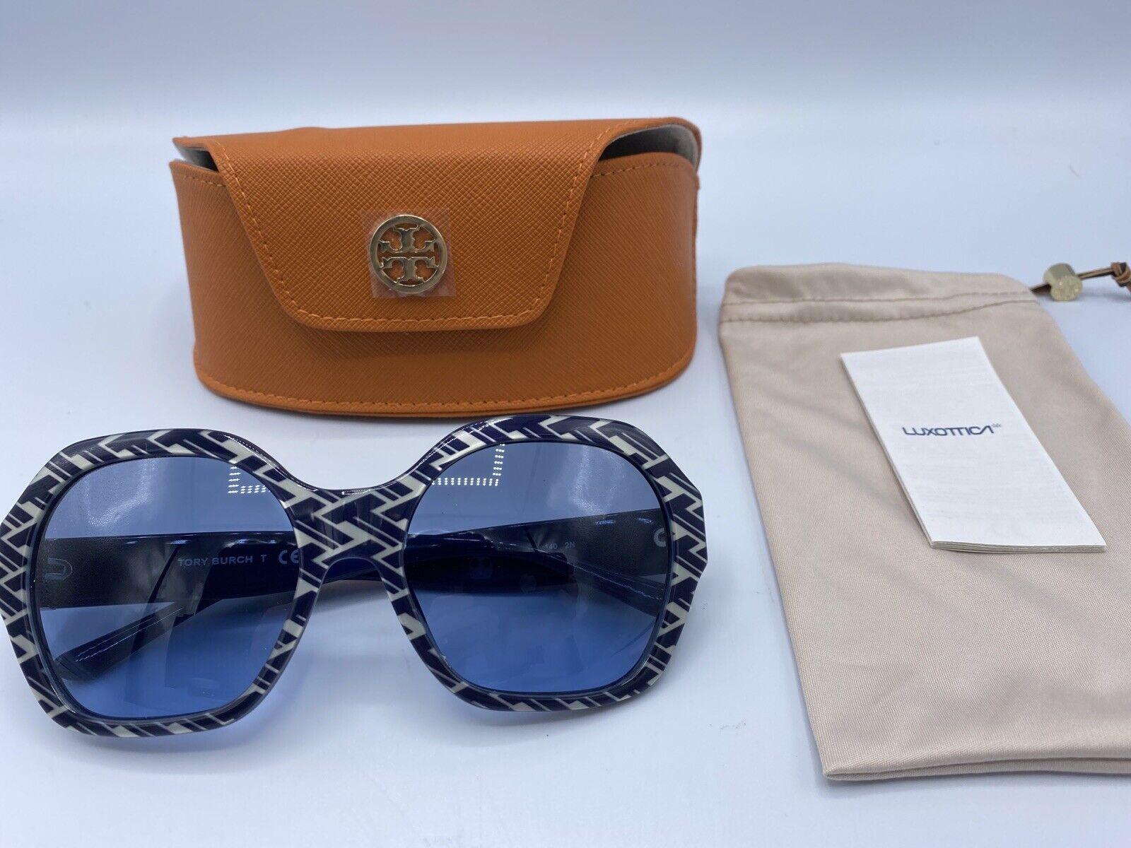 100% Authentic Tory Burch Serif T Pattern Hexagon Pattern Sunglasses Navy 57 mm