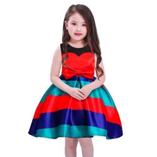 Childrens Kids Girls Striped Formal Fancy Princess Party Pageant Dress K45