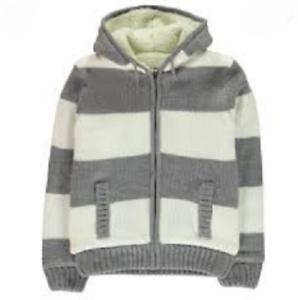 SOULCAL /& CO Boys Grey /& Cream Striped Sherpa Fleece Lined Jacket 9-10 Years NEW