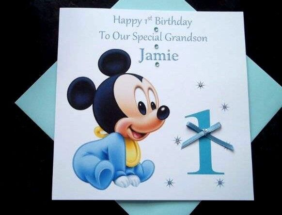 Handmade Personalised Baby Mickey Mouse 1st Birthday Card Grandson