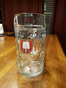 Spaten Munchen Mug Germany German Beer Glass 1 Liter Tall Big Cup Used Condition