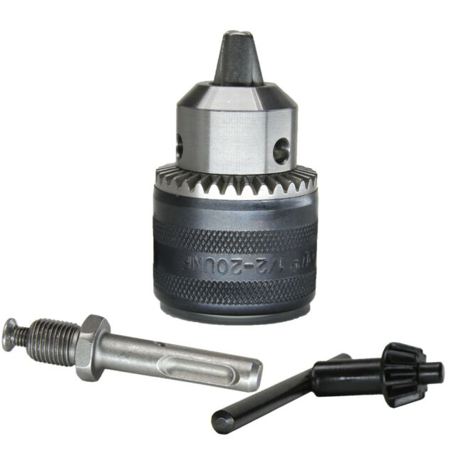 """KSEIBI 291113 1//2/"""" Drill Chuck with SDS Plus Adapter and Grip Chuck Key 3-Piece"""
