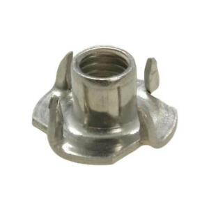 Qty-5-Tee-Nut-3-8-034-UNC-Stainless-304-T-Nut-4-Prong-Blind-Timber-Wood