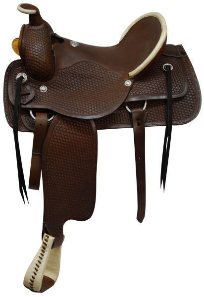 16   Fully tooled basketweave tooling Roping Style saddle made by Circle S