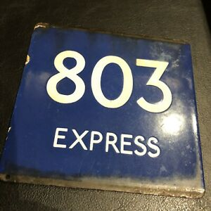 """VINTAGE DOUBLE SIDED THAMES VALLEY """"BUSES STOP BY REQUEST"""" & """"QUEUE"""" ENAMEL SIGN"""