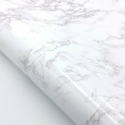 Marble Contact Paper Self Adhesive White Glossy Faux