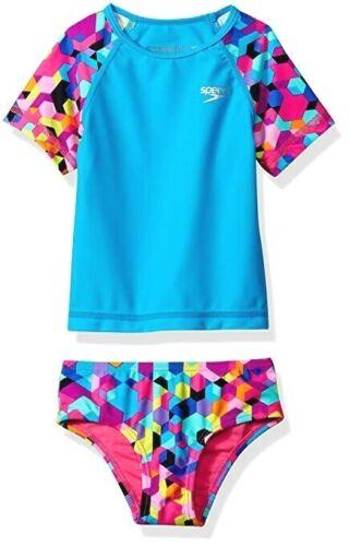 Size 6 NWT RRP $59.99. Girl/'s Speedo 2 Piece Rash // Rashie Swim Set Swimsuit