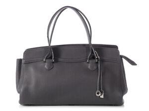 LORO-PIANA-Charcoal-Gray-Genet-M-Odessa-Bag-Satchel-Fab-grained-leather