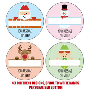 PERSONALISED STICKERS FATHER CHRISTMAS XMAS PRESENT LABEL TAGS PARTY BAG SNOWMAN