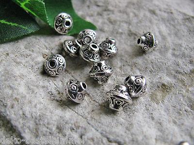 10 Metallperlen, silberfarben, 6mm, Zwischenperlen, Perlen basteln, Spacer