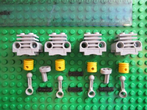 LEGO TECHNIC Engine Pack 4 x Light Grey Cylinder Block with 4 x Yellow Piston