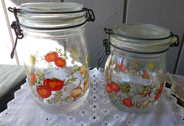 2 French Made Glass Canisters featuring Vegetable and Mushroom Kitchen Theme