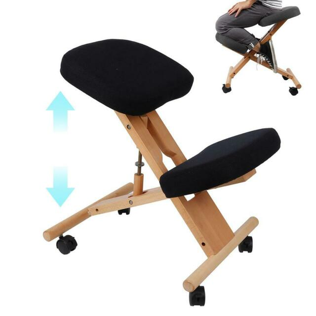 Admirable Wooden Ergonomic Kneeling Chair Stool Adjustable Home Office Posture Seat Black Pdpeps Interior Chair Design Pdpepsorg