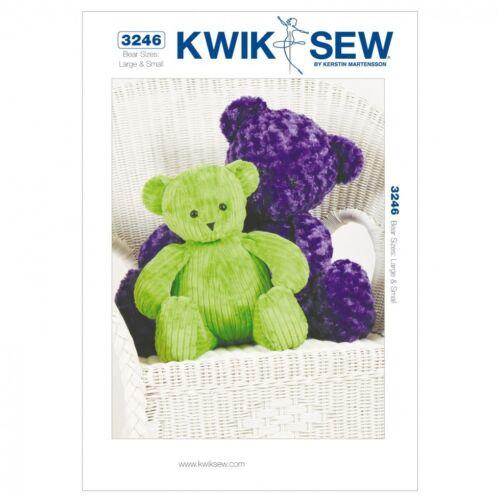 kwikse... Gratuit UK p/&p Kwik Sew Crafts sewing pattern 3246 Teddy Bear Toys