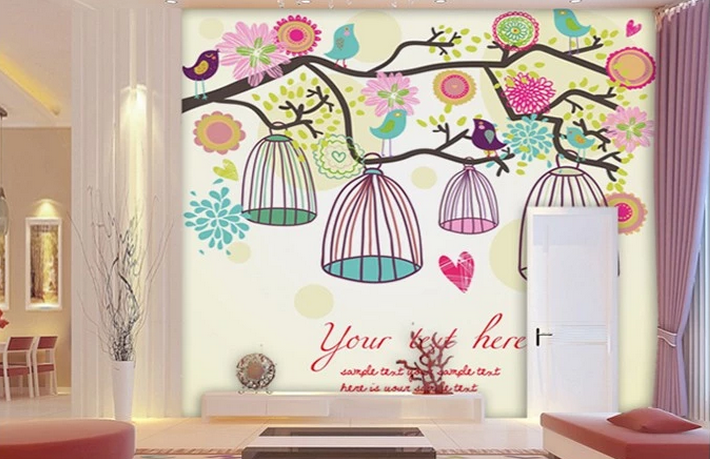 3D Flowers Tree Birds 4 Wall Paper wall Print Decal Wall Deco Wall Indoor Murals