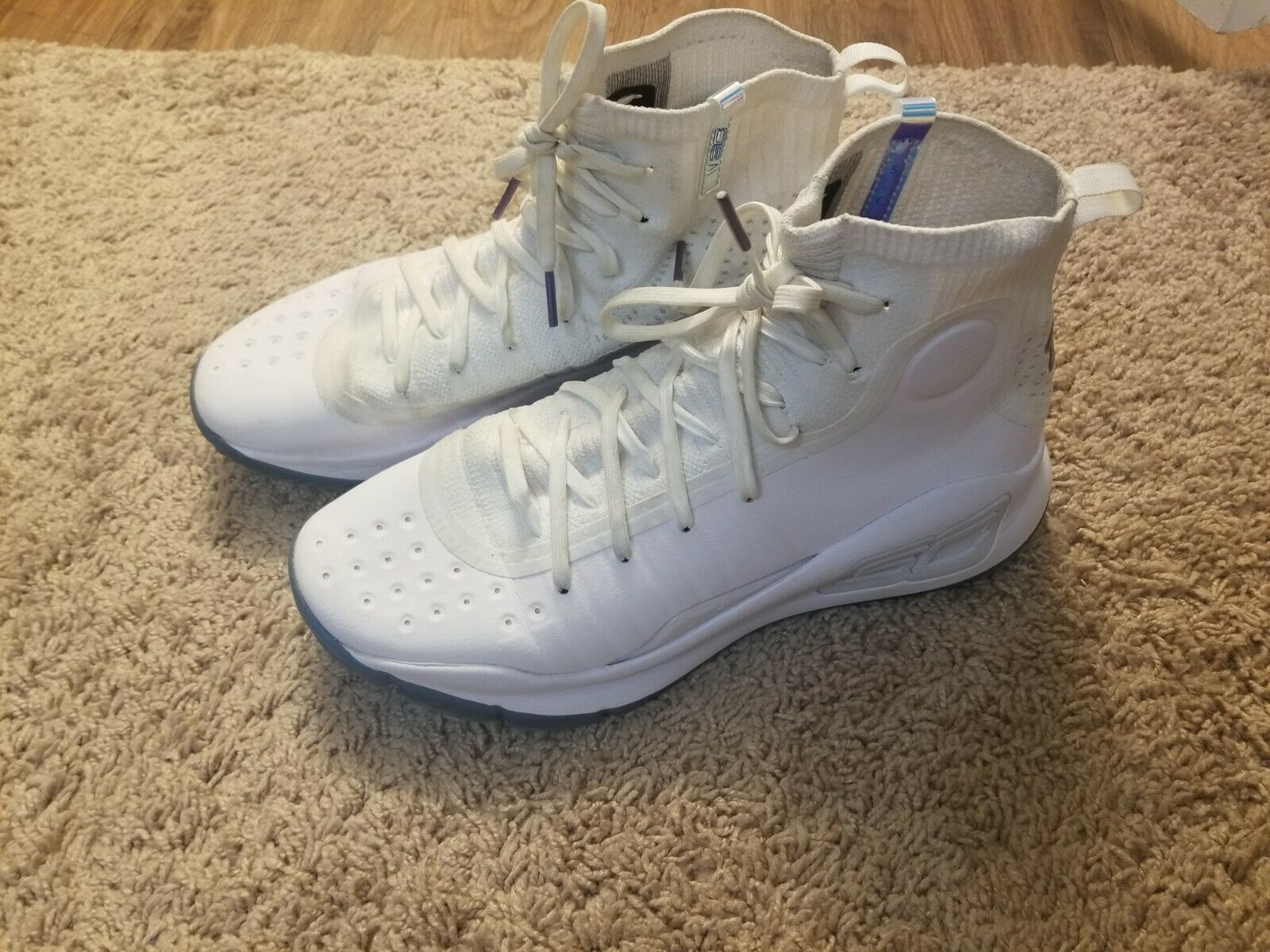 Mens 9.5 UA Steph Curry 4 All Star Basketball shoes White bluee Limited Edition