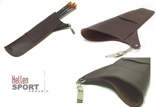 Faretra in cuoio marrone con moschettone Lunghezza cm 48 porta frecce per arco