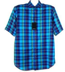 Bugatchi-Men-039-s-Teal-Blue-Plaids-Cotton-Shirt-Size-L-Classic-Fit-NEW-129