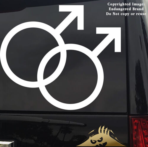 Gay Double Symbol Car Jeep Truck  Sticker Decal