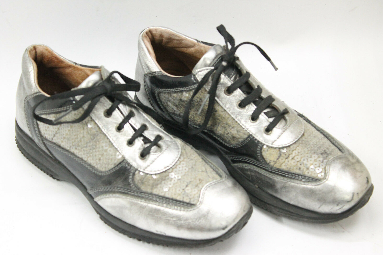 ALVIERO MARTINI women shoes sz 7.5 Europe 38 silver black leather S6797