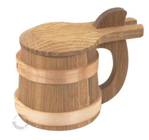 BIERKRUG 600 ML AUS EICHENHOLZ MIT DECKEL Holzkrug Krug aus Holz HUMPEN