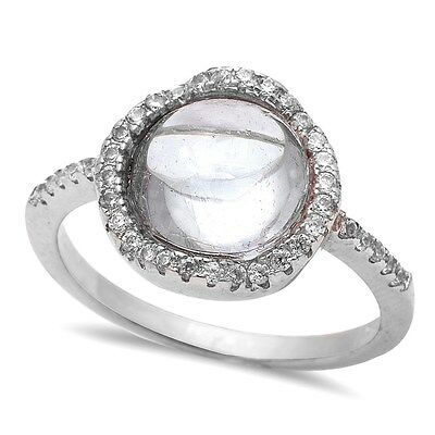 White Cabochon Cubic Zirconia  .925 Sterling Silver Ring Size 5-10
