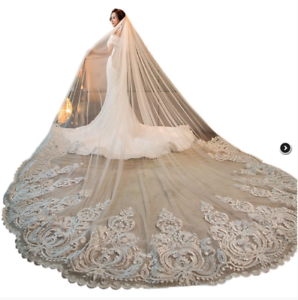 White Ivory Wedding Bridal Veil Cathedral Long Length Appliques 500*300 Sequins