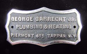 GEORGE-GARRECHT-Jr-PLUMBING-amp-HEATING-TAPPAN-NY-Old-Cast-Metal-Sign-Plaque
