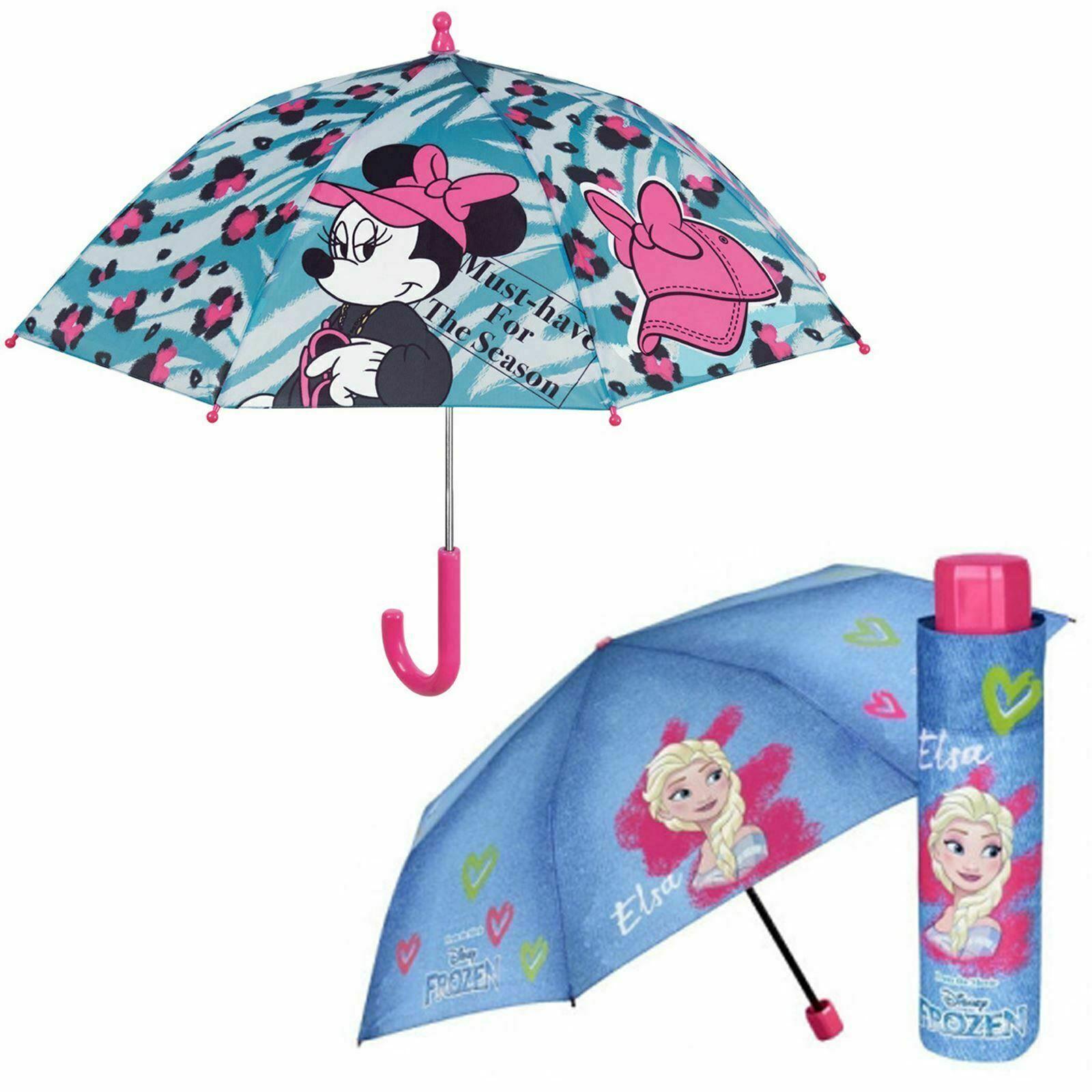 Kids Umbrella Disney Frozen Character Elsa & Mini Mouse Offical School Girls UK