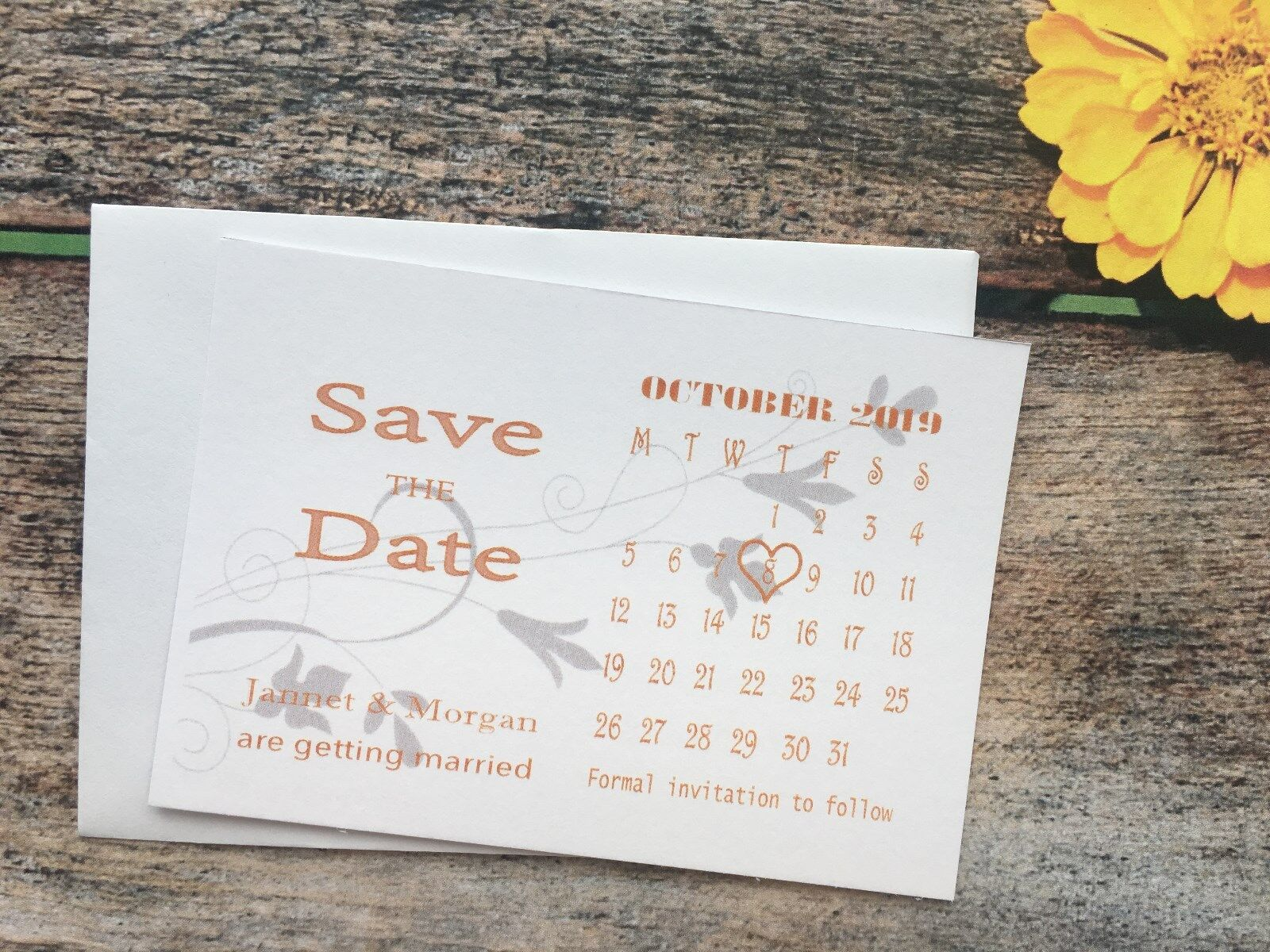 Personalised Magnetic Wedding Save The Date Cards Diamante & Envelopes Day N711c