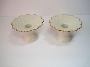 Pair-Of-Lenox-China-Candlesticks-Ivory-Porcelain-Gold-Trim
