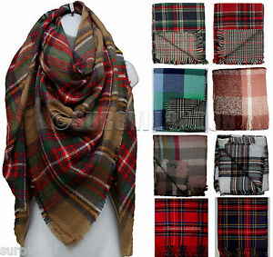 08ef0553d1e04 Image is loading Ladies-Large-Double-sided-Tartan-Check-Plaid-Oversize-