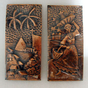 Vintage-Copper-stamp-relief-wall-hanging-Two-Hand-Made-Copper-pictures-Brazil