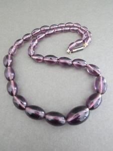 Vintage-Art-Deco-Amethyst-Paste-Glass-Necklace-Silver-Clasp