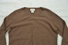 Neiman Marcus Women's XL Coffee Brown Cashmere Crewneck Pullover Sweater Top D1