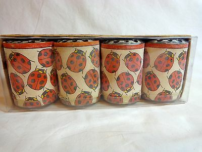 VOTIVE CANDLES Set of 4 Unscented LADYBUG WRAPS Votivo Mexico