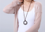 Urban Vintage style Genuine Leather Necklace with Hammered Metal Ring Pendant