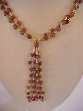 "Prayer Bead Necklace Double Strand Fringe Tassel Gold Brown Beads 32"""