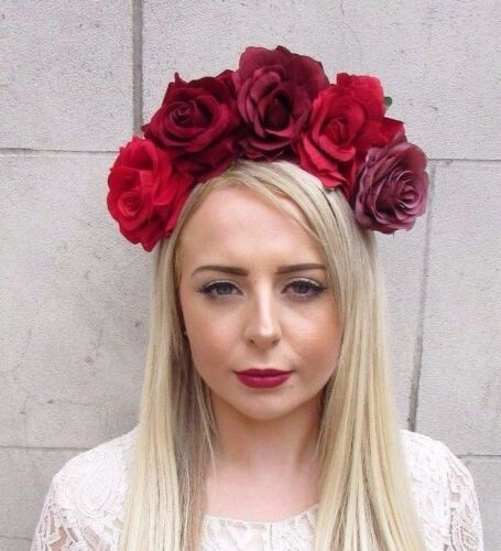 Large Red Burgundy Rose Flower Frida Sugar Skull Headband Headpiece Big 3859