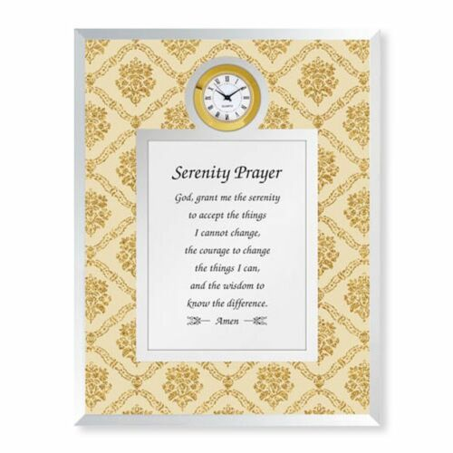 shimmering glass frame with a functional clock Serenity Prayer Framed  Clock
