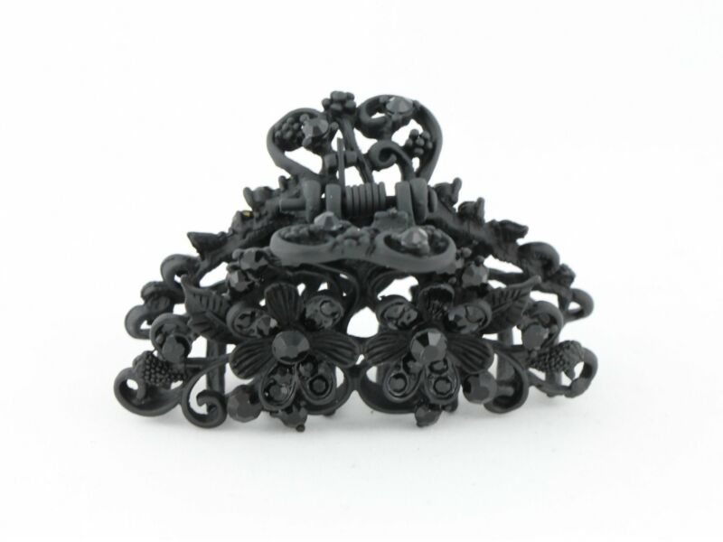 Energetic Neutral Black Color Hair Claw Clip With Tiny Diamante Flowers