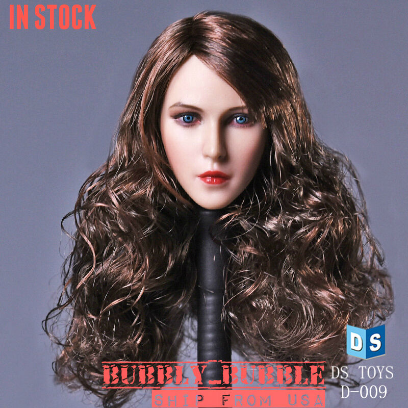 1 6 Female Beauty Head Sculpt Long Curly Hair For Hot Toys Phicen SHIP FROM USA