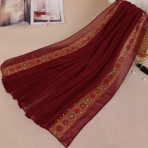 Shiny Edge Muslim Chiffon Hijab with Pearls Islamic Women/'s Scarf  Shayla Wrap