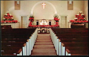 BUENA-VISTA-GA-United-Methodist-Church-Christmas-Altar-Interior-Vintage-Postcard