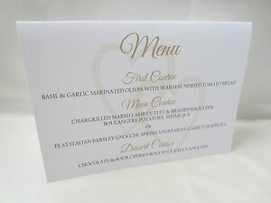 Wedding Menu Cards.Details About Personalised White Wedding Menu Cards Free Standing Meal Dinner Dessert Table