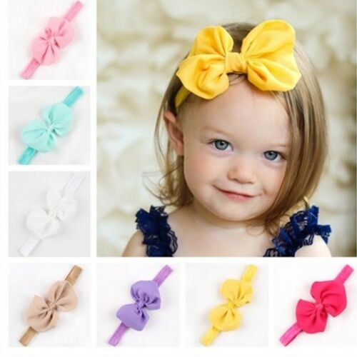 BABY Haarband Mädchen CHIFFON  SCHLEIFE  Stirnband - 5 Farben zur Wahl