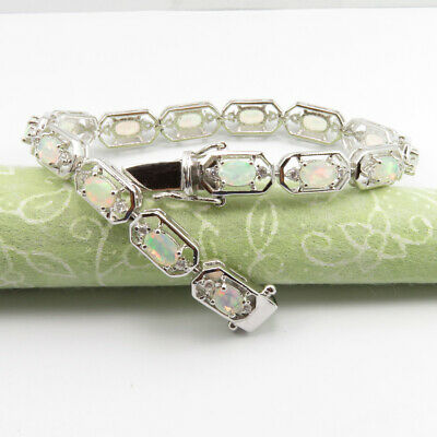 """0.925 Solid Silver Real Opal October Birthstone 7.4"""" Bracelet Women's Jewelr Unequal In Performance Jewelry & Watches"""