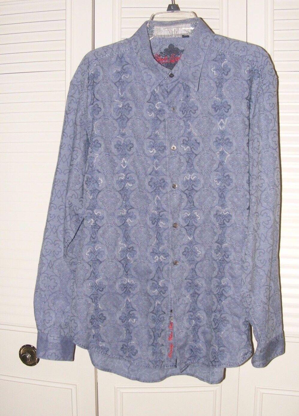 Robert Graham bluee Geometric Mens Button Down Shirt XL
